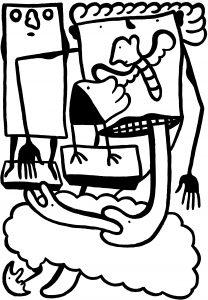 De Ontzagwekkende bijt de slang in zijn staart, helse kwelling! - 70 x 100 cm - Inkt op papier