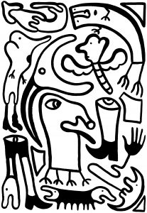 De wonderbaarlijke reis van de worm naar het eeuwige licht (1) - 70 x 100 cm - Inkt op papier