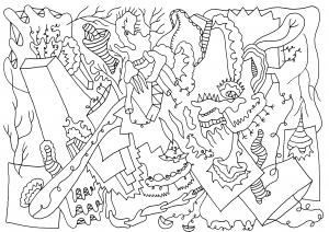 Kraahoolla - pen op papier - 29,7 x 21 cm - 2016