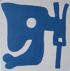 Pictogram (Blafsmog) - 30 x 30 - Olieverf op doek