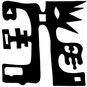 Pictogram (Familievogel) - 100 x 100 - Acryl op doek (Zwart-wit)