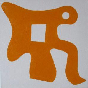 Pictogram (Koffiepottover) - 30 x 30 - Olieverf op doek
